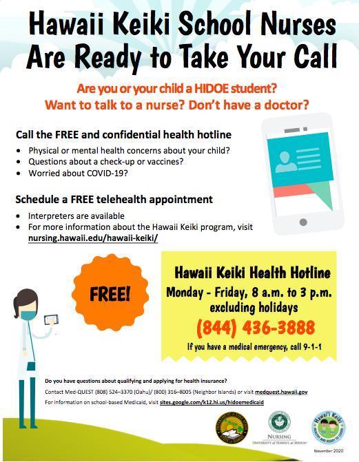 The Hawaii Keiki Health Hotline is Open! Featured Photo
