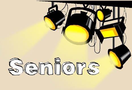 Spotlights shining down on the word Seniors