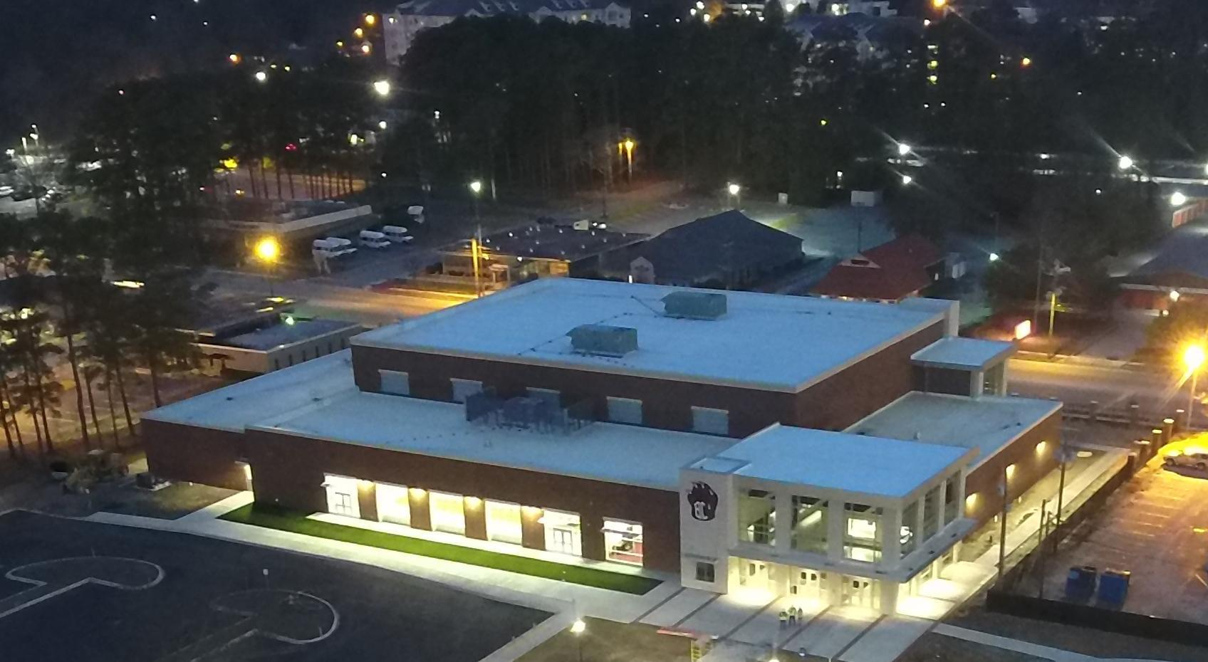 Night time aerial view of the New Brookland-Cayce HS Sports Arena