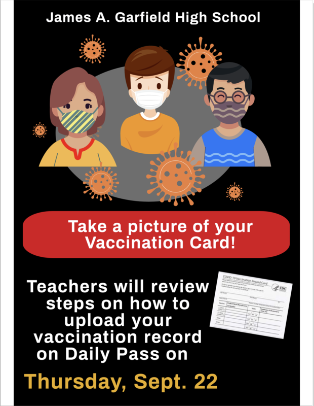 Upload your Vaccination Card! Take a pic of your vac card and your teachers will help you upload!