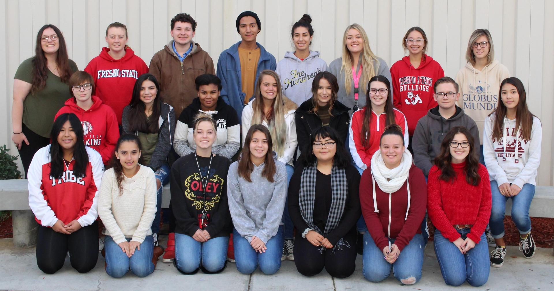 CUHS Yearbook Staff posing for a class picture.