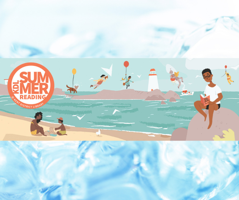 KDL Summer Reading logo with a family at the beach