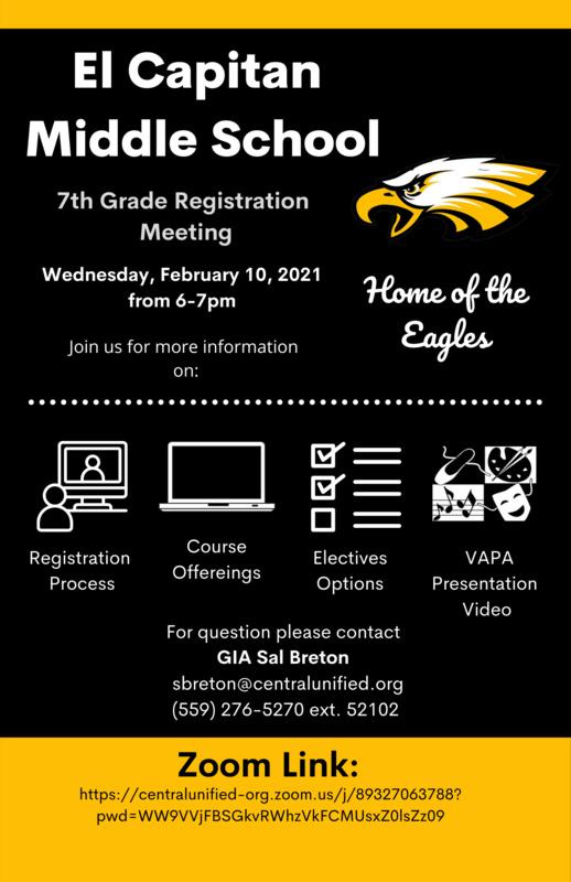 El Capitan Middle School 7th Grade Registration Meeting Flyer