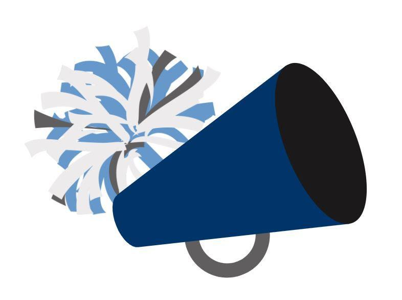 Blue and white pom poms and a blue and black cheerleading megaphone