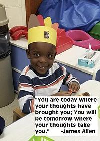 "Readiness child doing crafts. ""You are today where your thoughts have brought you; You will be tomorrow where your thoughts take you."" -James Allen"