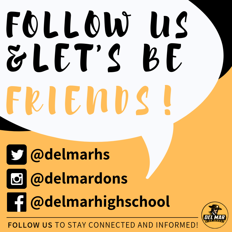 Image of flyer encouraging families to follow Del Mar on social media