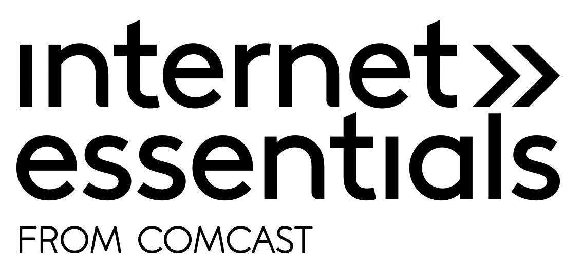 Comcast logo, text with two arrows pointing right