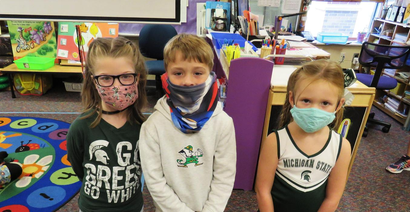 Students wear Michigan State and Notre Dame shirts for college day.