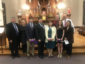 OLSH Alumni who are parents of current juniors are recognized at the OLSH Ring Day Celebration