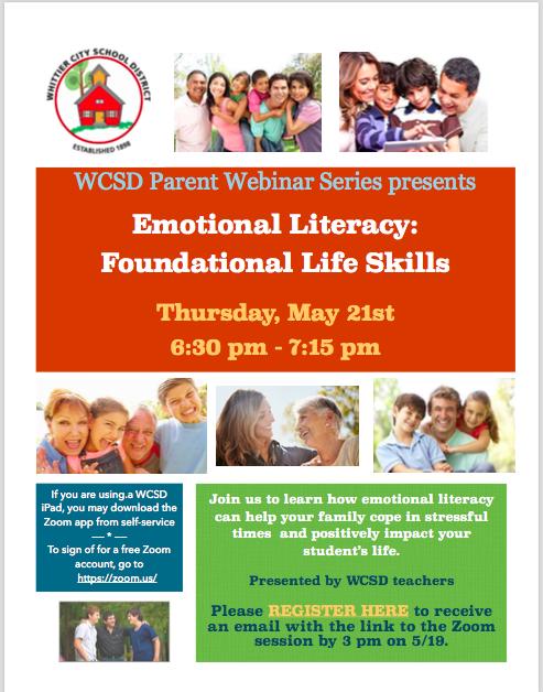 WCSD Parent Webinar Series Emotional Literacy