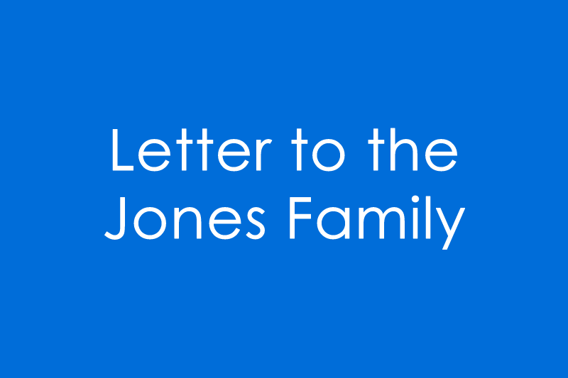Image Letter to the Jones Family