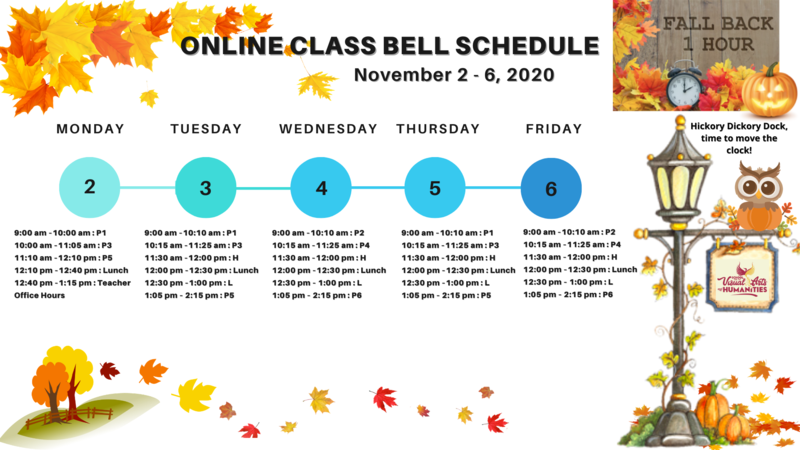 Class Bell Schedule : November 2 - 6, 2020 Featured Photo