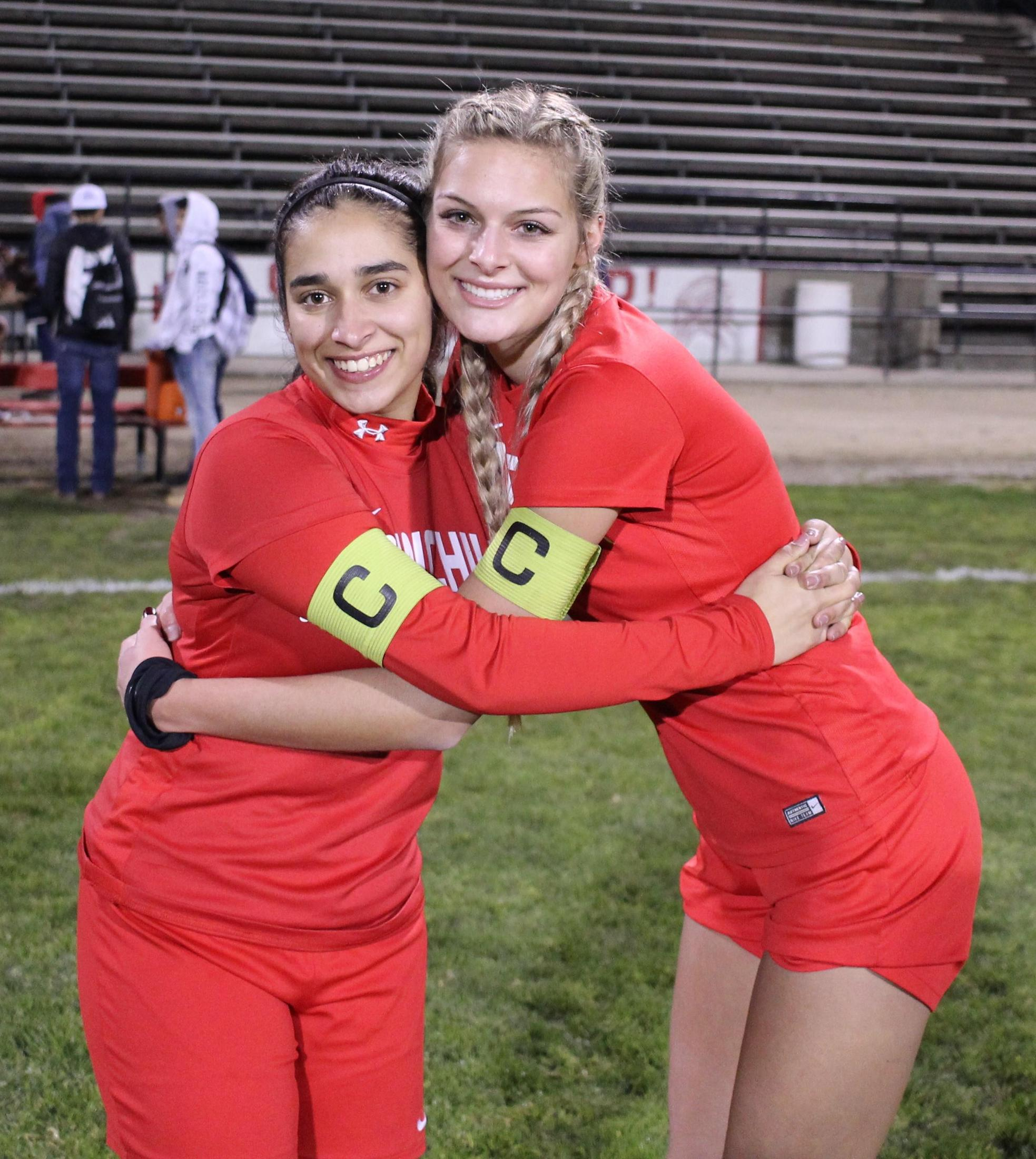 Allie Suarez and Kinsley Vlot at soccer senior night