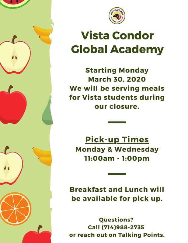 We serve meals for Vista students during our closure. Featured Photo
