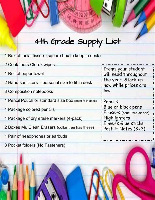 4th Grade Supply List Thumbnail Image