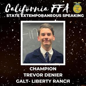 Trevor Denier CA FFA State Extemporaneous Speaking Champion
