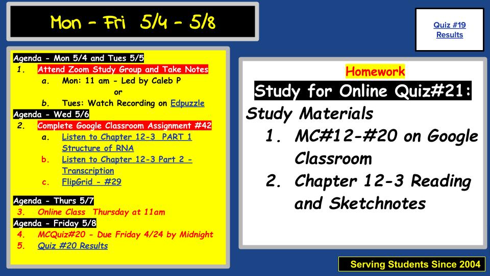 Agenda 5/4 - 5/8