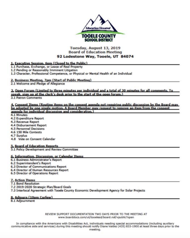 August 2019 Board of Education agenda