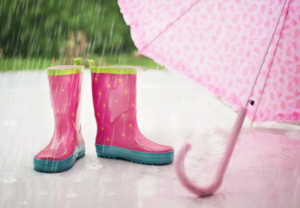 Image of rain boots and umbrella