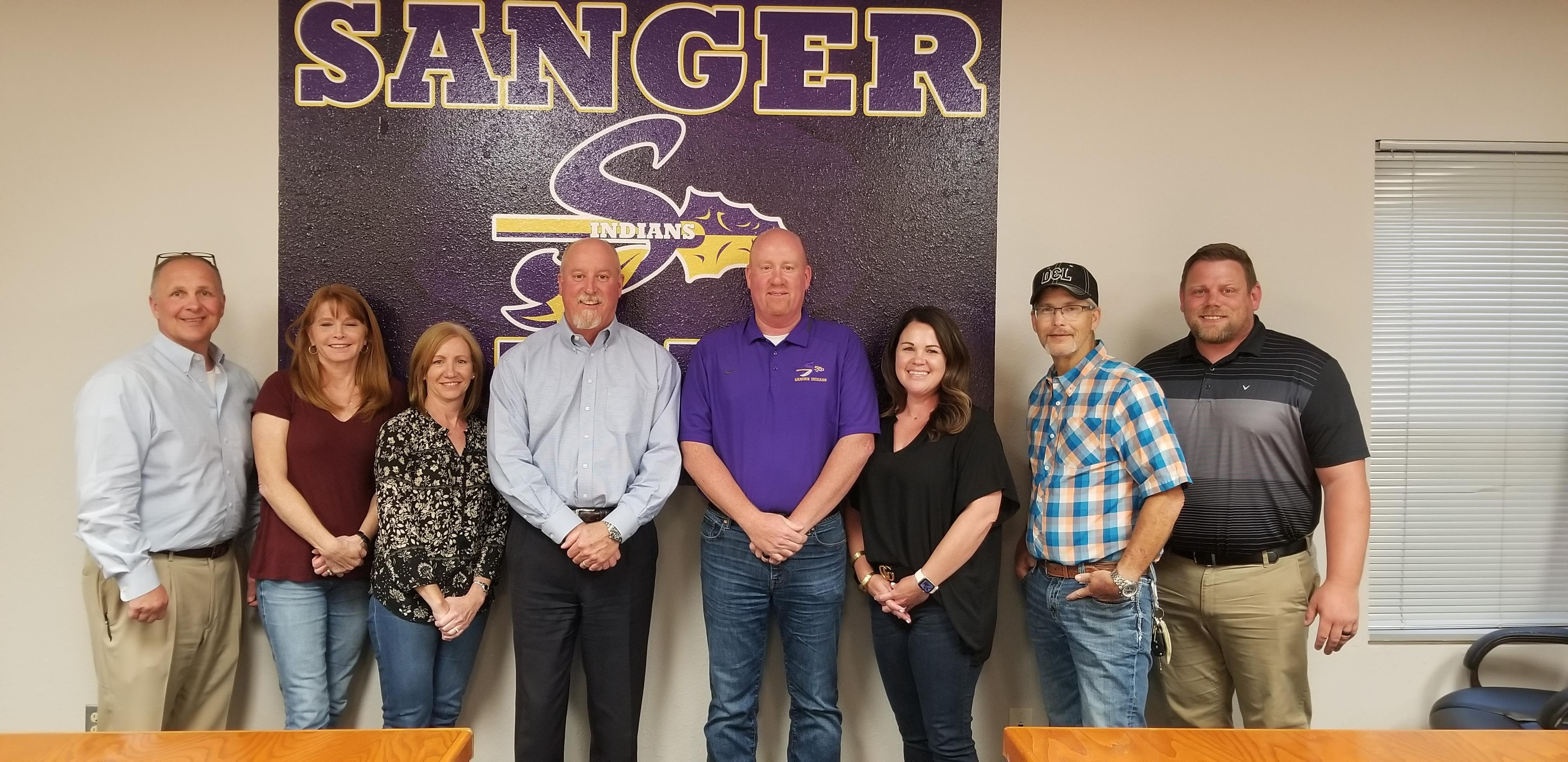Sanger ISD School Board and Superintendent - Jimmy Howard, Lisa Cody, Secretary AnnMarie Afflerbach, President Ken Scribner, Superintendent Dr. Tommy Hunter, Vice President Sarah York, Mitch Hammonds, and Zach Thompson