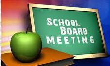 Image of chalkboard with School Board Meeting written on it