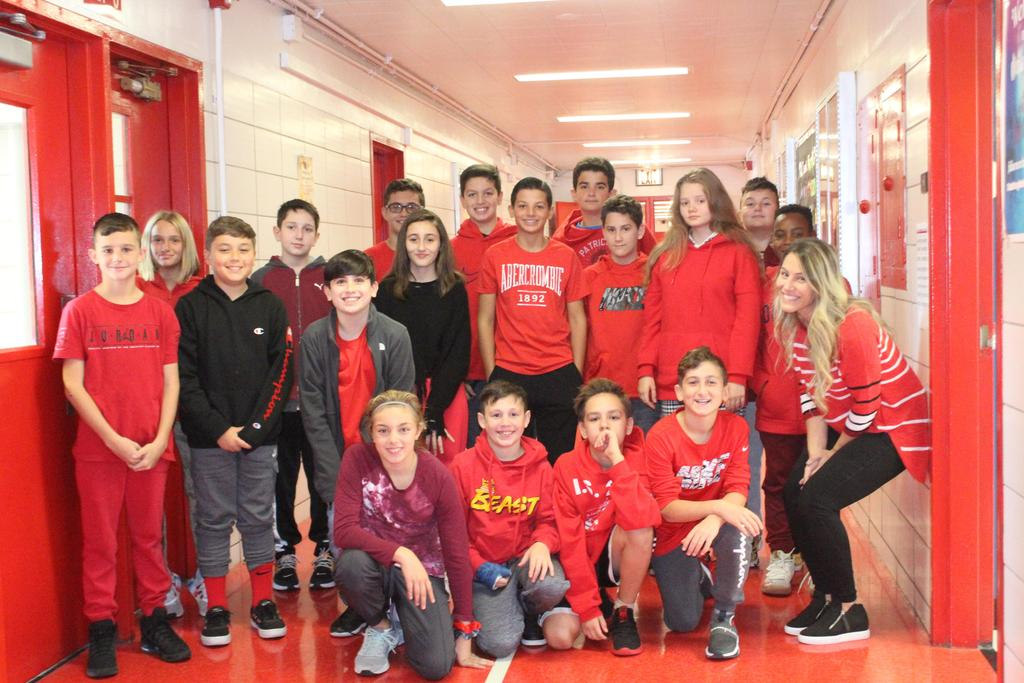 Students wearing Red