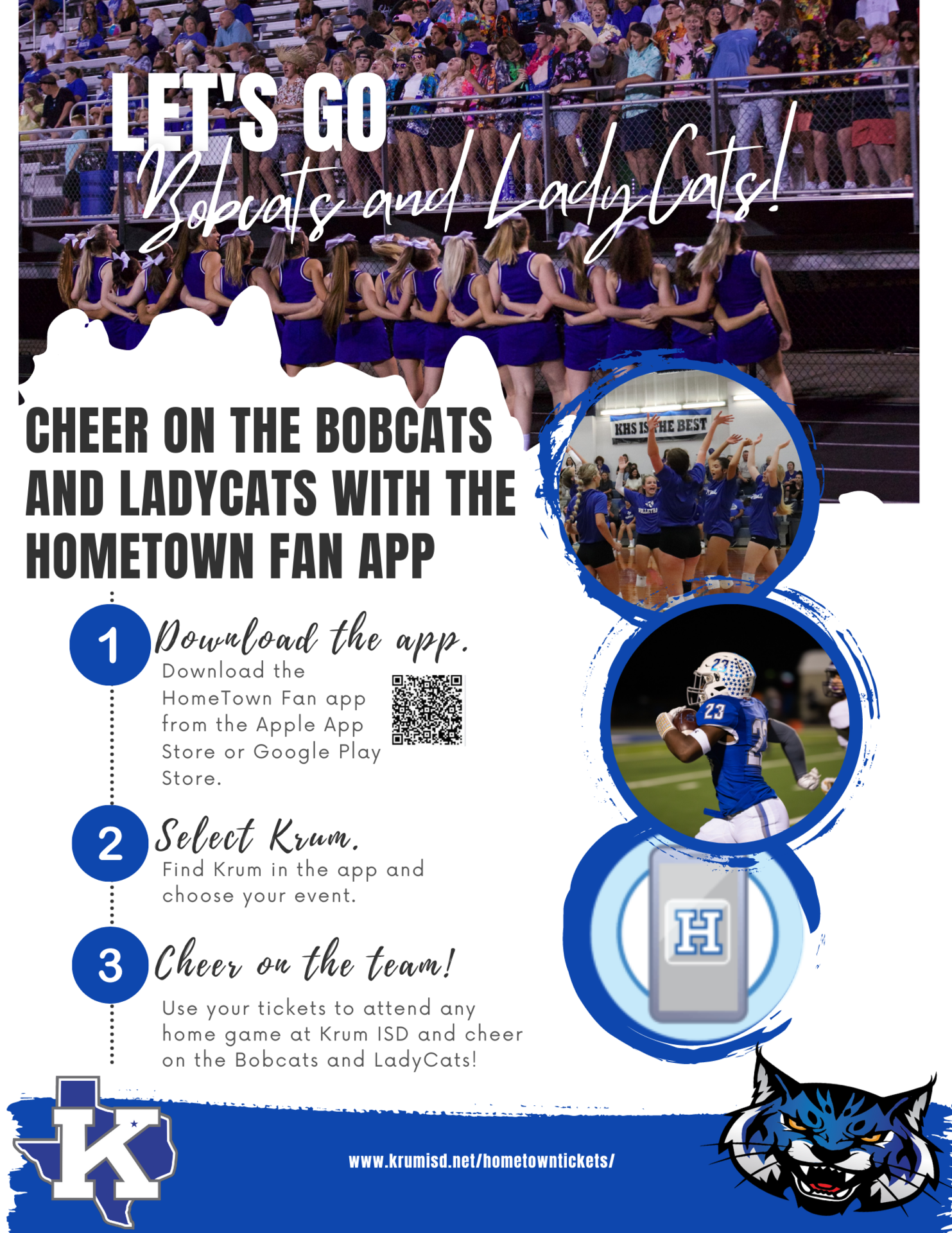 informational flier to utilize hometown fan app to support bobcats and ladycats