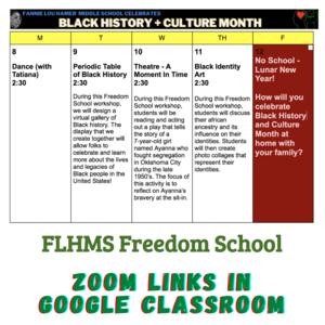 Week schedule of activities for Black History Month in Google Classroom!