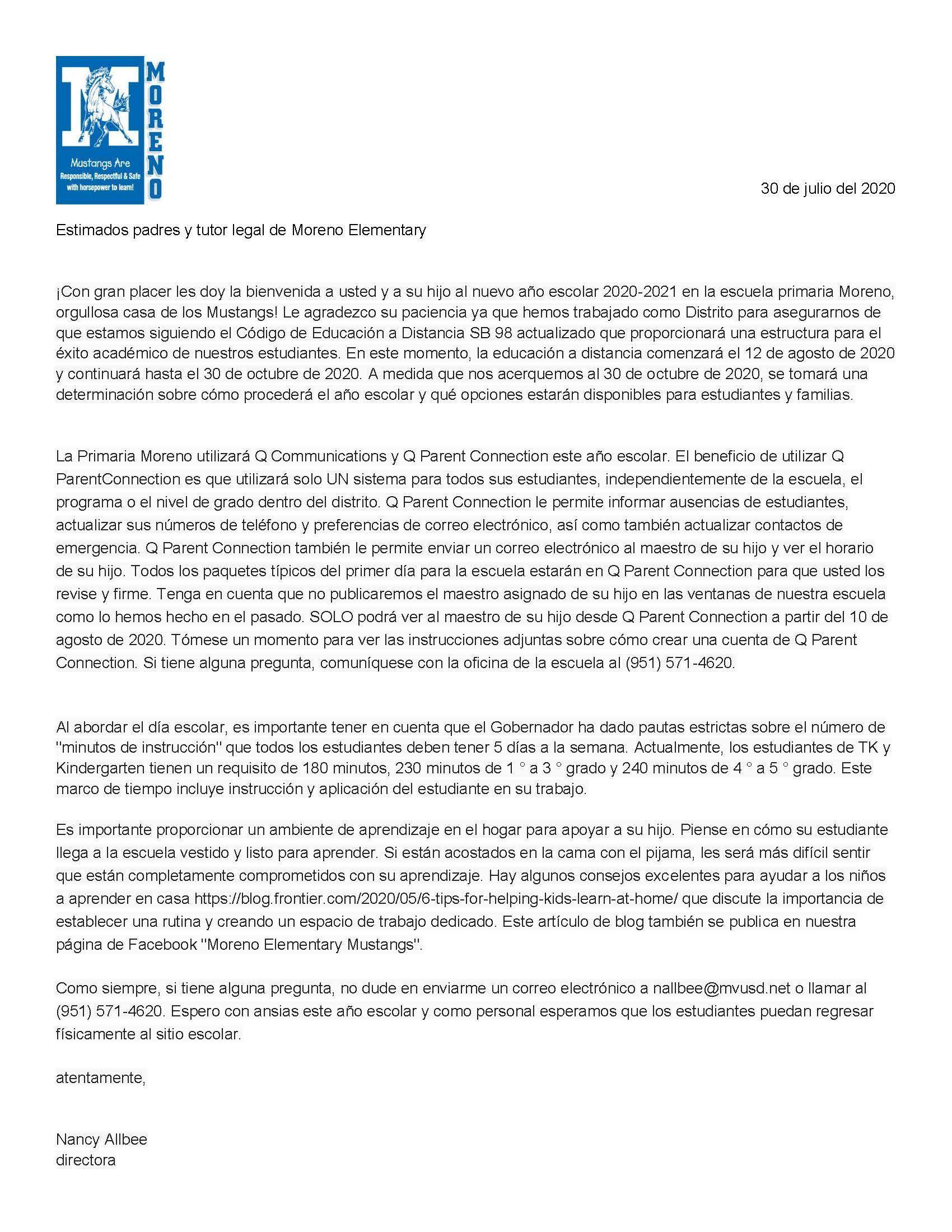 Principal Letter Spanish