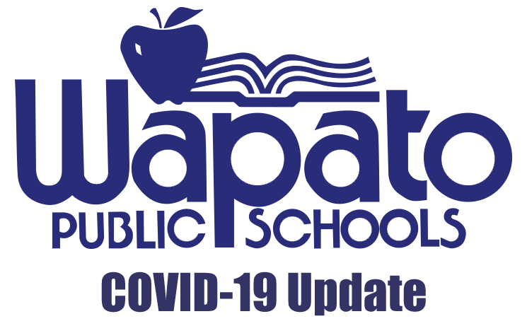 Wapato Public Schools logo with book and apple