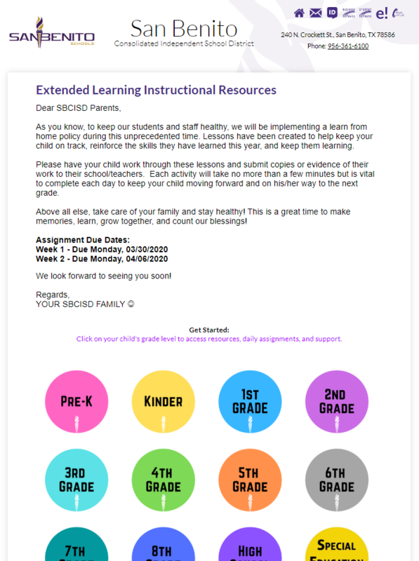 SBCISD Extended Learning Resources Page