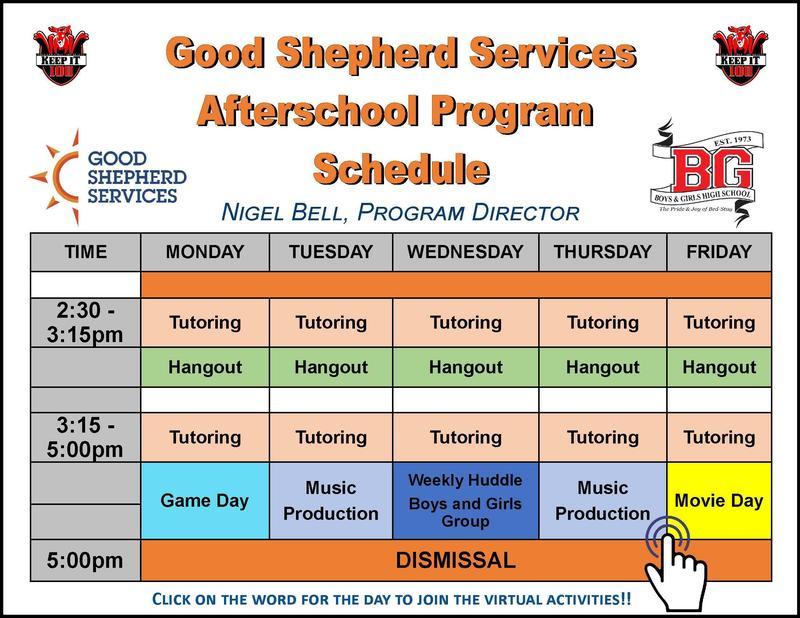 Good Shepherd Services Afterschool Program Schedule