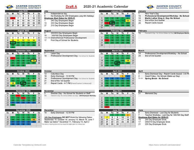 Academic Calendar A
