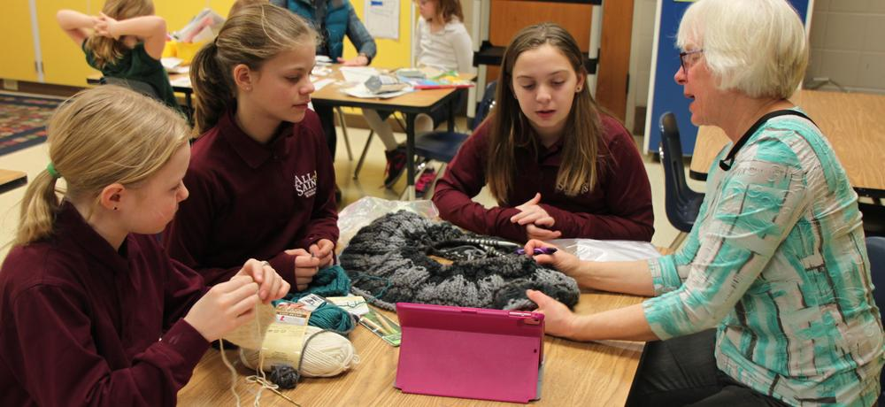 6th Graders Learning to Knit from Grandparent Lynette