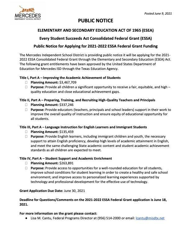 Public Notice for Applying for 2021-2022 ESSA Federal Grant Funding Featured Photo