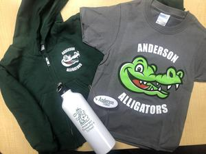 an Anderson sweatshirt, tshirt, water bottle and keychain
