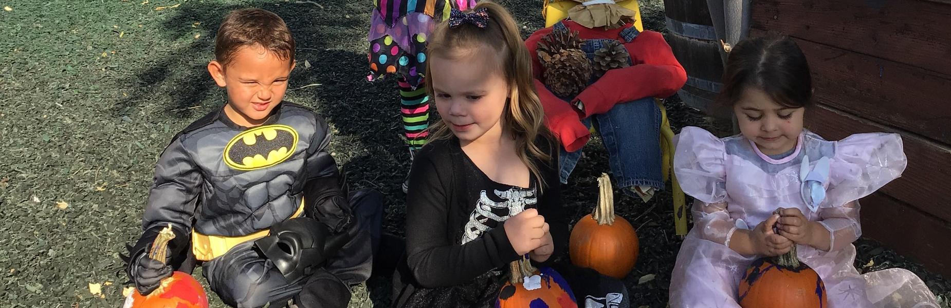 preschoolers and pumpkins