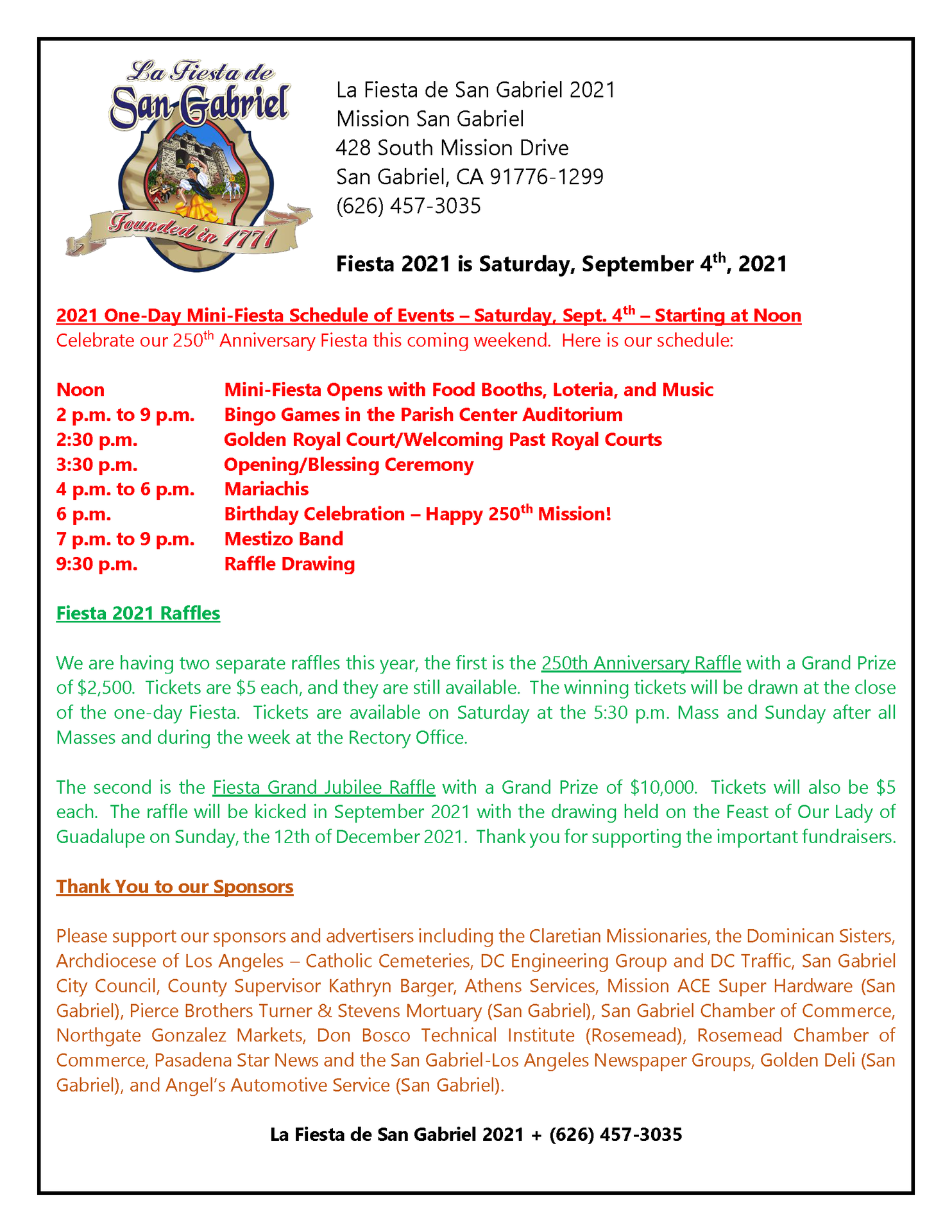 Join us for our one-day mini-Fiesta 2021!