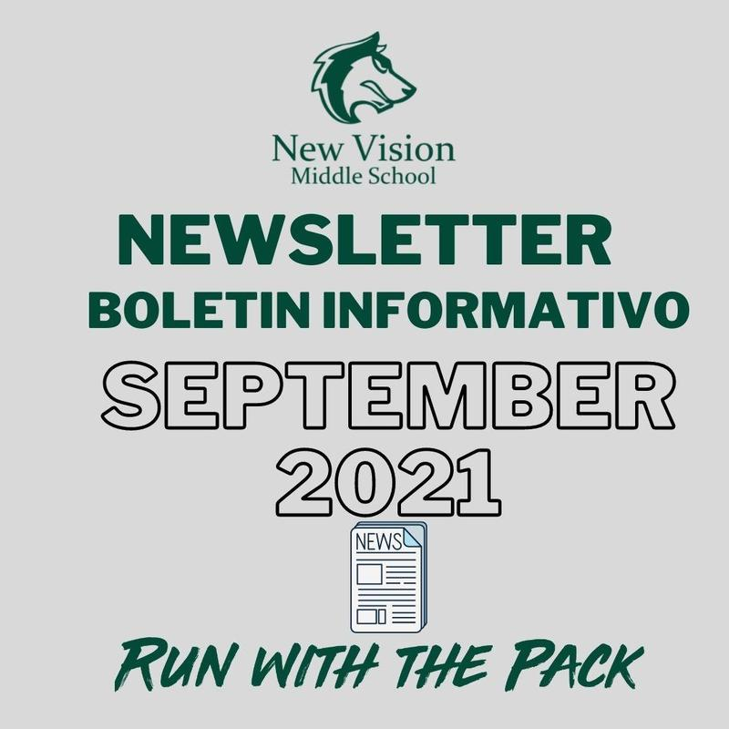 NVMS Newsletter flyer that reads Newsletter September 2021 with a newspaper clipart and at the bottom it reads run with the pack