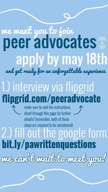 Apply to become a 2020-2021  Peer Advocate Featured Photo
