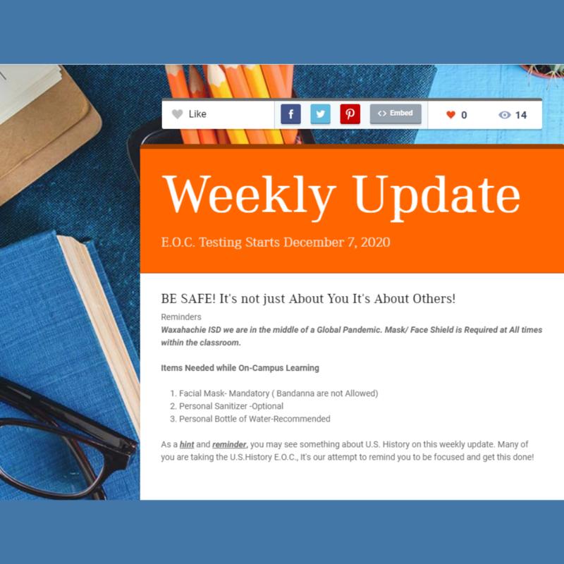weekly update headline