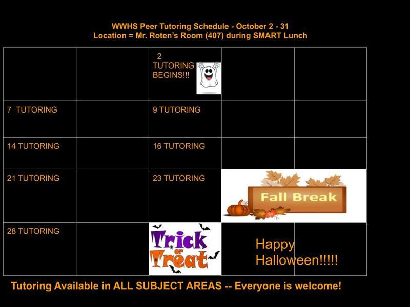 October Peer Tutoring Schedule Thumbnail Image