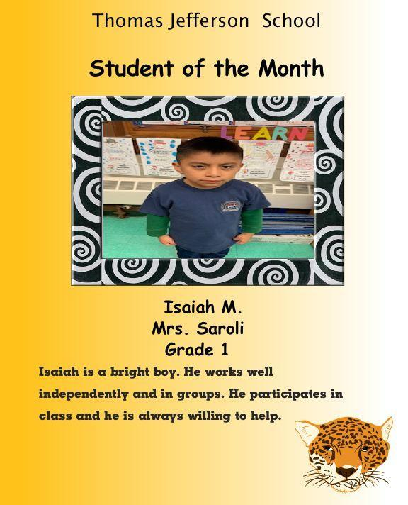 isaiah m. 1st grade student of the month