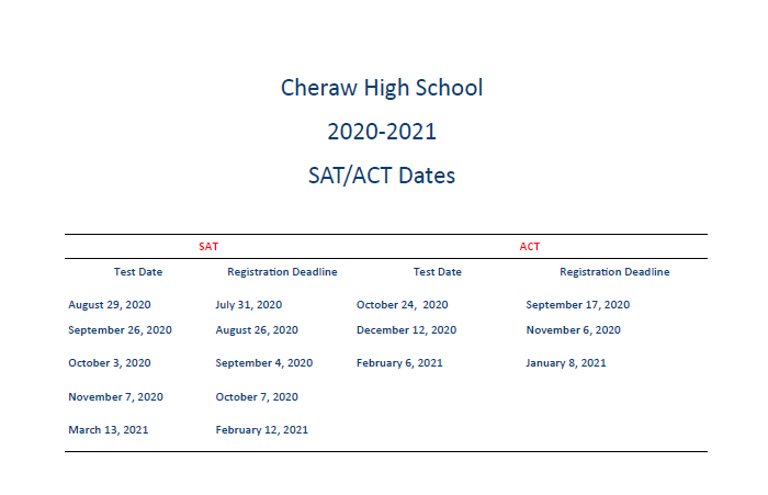 Cheraw High to host SAT and ACT test dates Featured Photo
