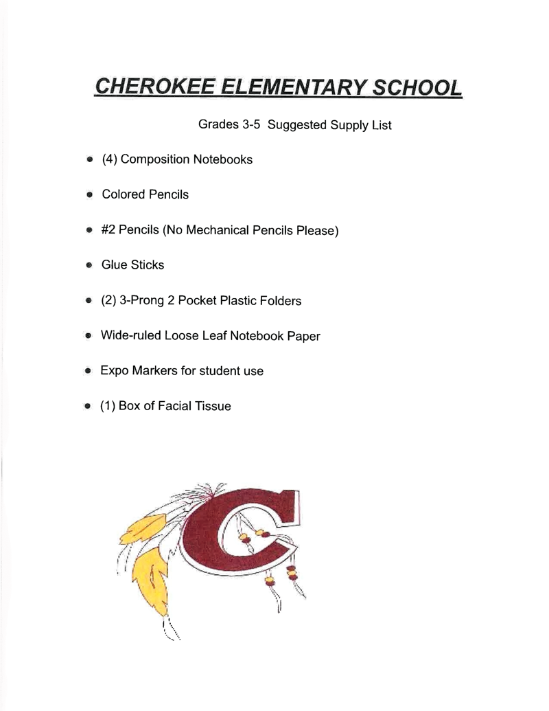 3rd-5th Grades Supply List