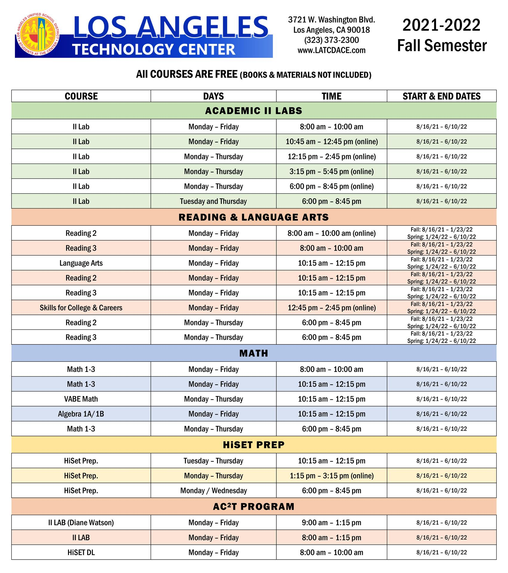 Fall Academic Courses