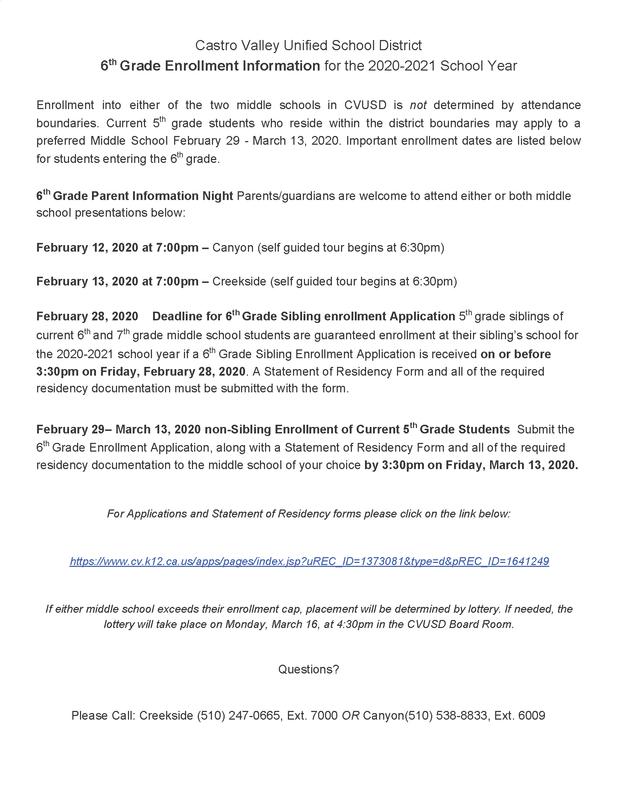 6th grade enrollment information for 2020-2021