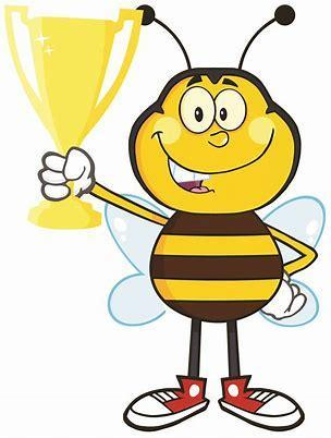 Bee holding trophy