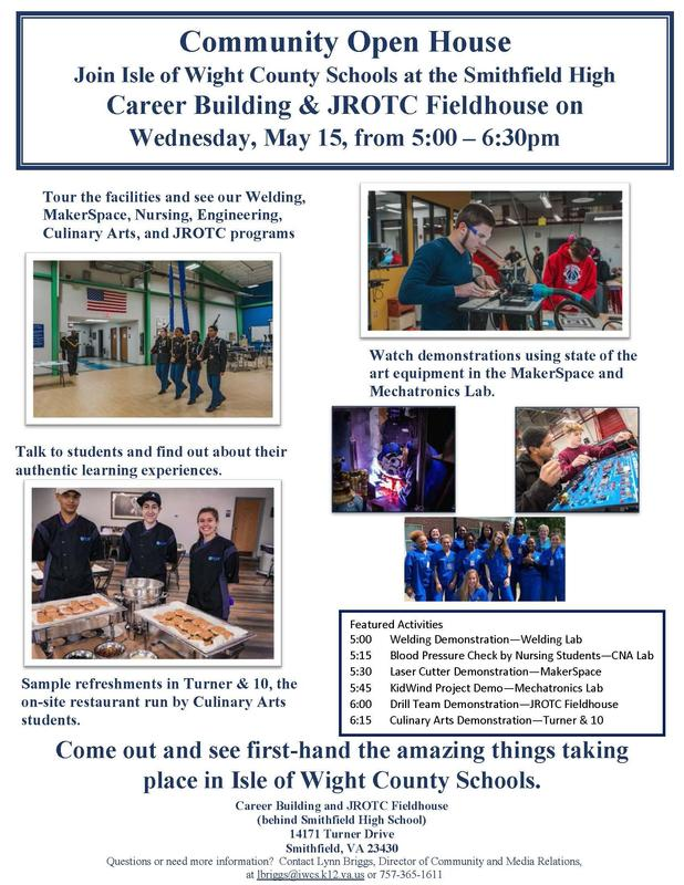 Community Open House SHS May 15 from 5:00 to 6:30pm