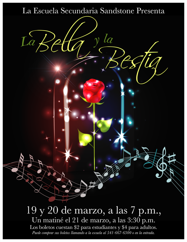 Beauty and the Beast flyer in Spanish.